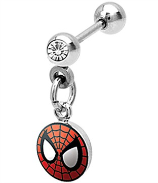 Spiderman Clear Gem Cartilage Earring