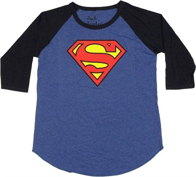Superman Logo Raglan Ladies Tee