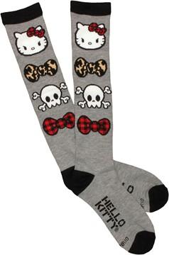 Hello Kitty Bow Ties Skulls Knee High Socks