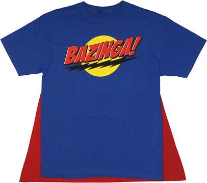 Big Bang Theory Bazinga Blue Caped T Shirt