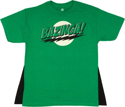 Big Bang Theory Bazinga Green Caped T Shirt
