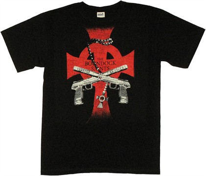Boondock Saints Guns Cross T Shirt