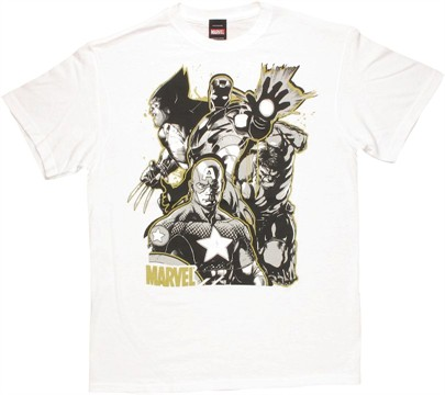 Marvel Group Gold Outline T Shirt