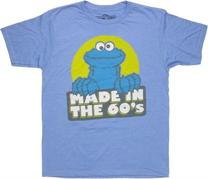Sesame Street Cookie Monster Made in 60s T Shirt Sheer