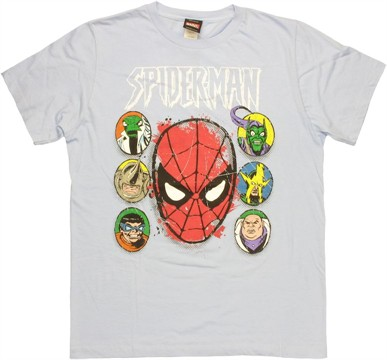Spiderman Villain Heads T Shirt Sheer