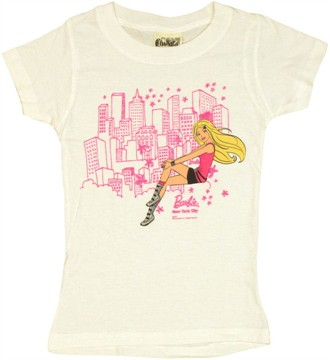 Barbie Sitting NYC White Youth Girls T Shirt